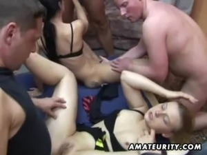 Amateur group sex: 2 chicks and 4 dicks ! free