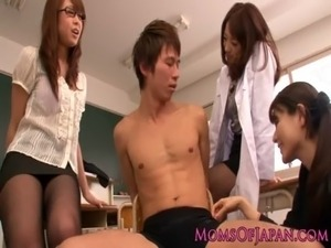 Young Japanese MILF teachers share cock free
