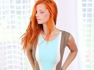 Redhaired titty beauty fingering snatch