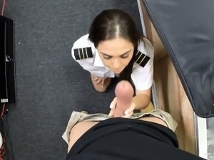 Sexy latina flight attendant pawns pussy and got pounded