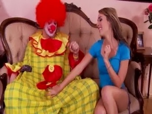 Horny babe goes down on clown on couch free