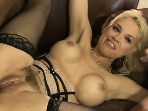 Busty blonde whore in stockings analyzed with black dicks