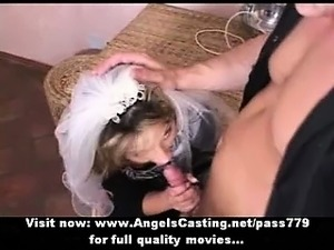Amateur hot blonde bride sweet talking and doing blowjob for a guy