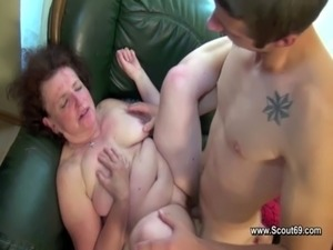 Hairy mom fucks with step-son without a condom free