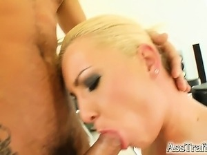 This blonde with a big ass gets ass fucked hard. She squirts like crazy and...