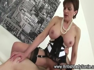 Big tits mature stockinged british Lady Sonia gets fucked