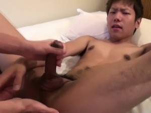 Asian twink cummed on