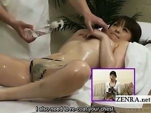 Subtitled Japanese schoolgirl topless first oil massage