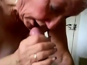 Busty Granny Gives A Blowjob And Swallows
