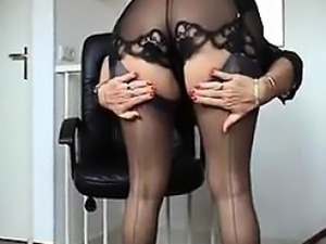 Granny Being A Tease In Black Lingerie