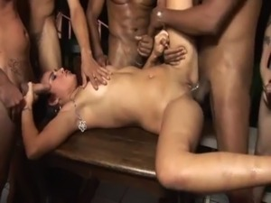Horny Brazilian Amateur Brunette Beauty Enjoys Hardcore Gangbang By 20 Guys free