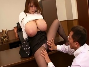 Busty asian Hitomi Tanaka at the office having her huge tits cherished by a guy