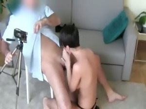 Horny brunett girl fucking on the chair
