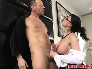 Aggressive stud gets a bj at a threeway