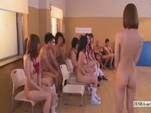 Subtitled uncensored Japanese nudist school club orgy free