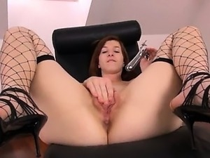 Gyno toy inside of her beautiful cunt