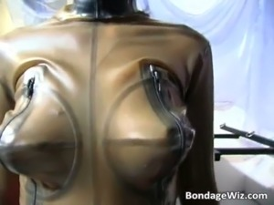 Hot BDSM sex scene with bitch in latex free