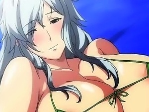 Anime milf rubs dick with her breasts