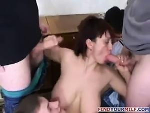 Russian MILF with big boobs suck cock