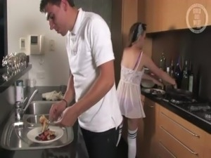 Amateur couple breakfast and dessert free