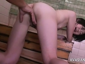 Slim asian slut gets ass fingered in bathroom