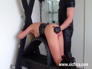 Busty blond slave brutally fisted till she squirts free