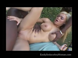 Blonde In Threesome Outside
