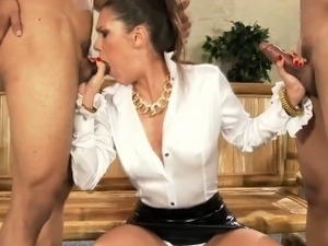 Spanish cfnm babe gags on two cocks