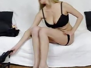 Huge natural tits blond-haired sheer pantyhose screw