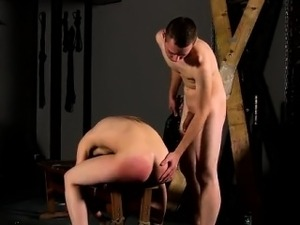 Hot gay scene Tied down to the bench with his slot on show,
