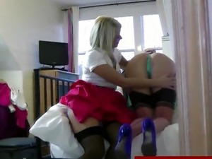 Brit in stocking enjoying lesbian sex