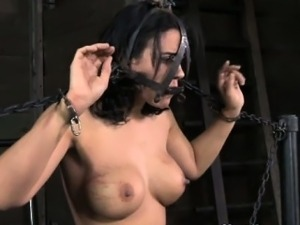 Mouth gagged skank getting caned by powerful master