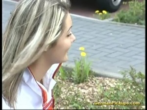 Pick up german Blonde for her first anal free