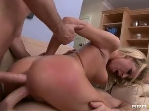 Blonde bitch Riley Evans has two hard cocks to take