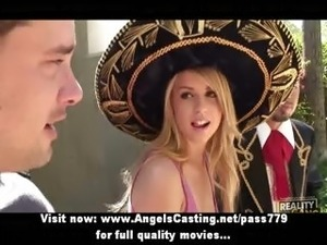 Gorgeous blonde woman does blowjob and handjob for spanish guys