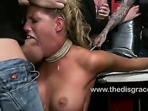 Busty blonde ass fucked in a public bar