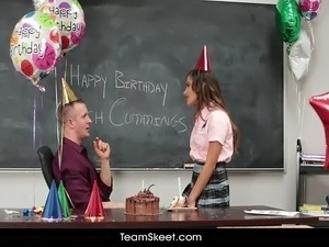 Petite teen fucks birthday boy