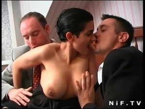French brunette slut gets double teamed free