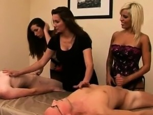 Strapon clad cfnm babes tug losers