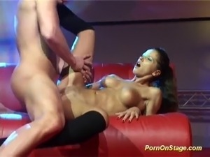 crazy horny couple fucking on public show stage
