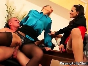Guy goes crazy fucking two clothed part5