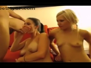 Real girlfriends sharing cocks on webcam in foursome