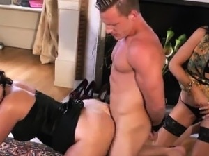 CFNM femdoms threeway with lucky guy
