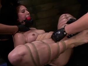 Strapon lesbian dominated in femdom threeway