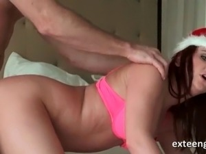 Santas girl banged doggy style in her pussy