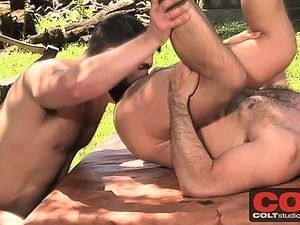 Bob Hager and Wilfried Knight takes turns fucking outside