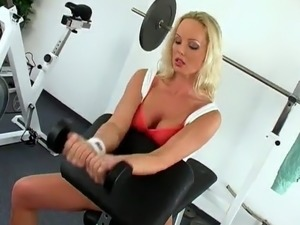 Solo Satisfaction For Silvia Saint inside A sports hall all over the rubber toy