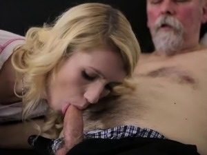 Old Goes Young - Sexy Helena blows old goes young guy