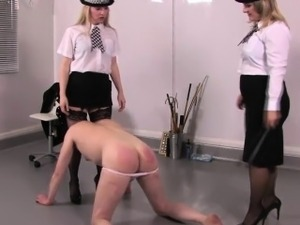 Femdom police kicking sissyfied subs balls