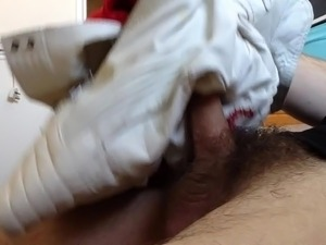 Fuck and cum in white leather jacket
